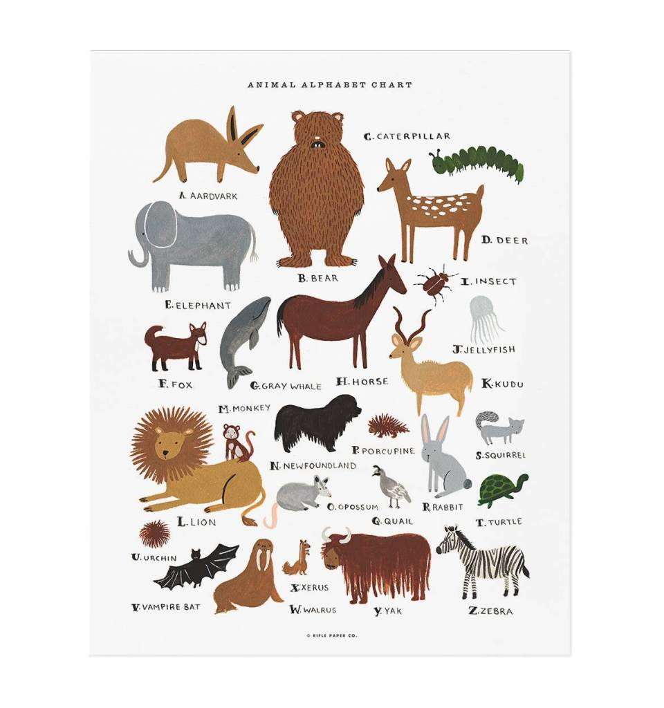 Rifle Paper Animal Alphabet Chart Print