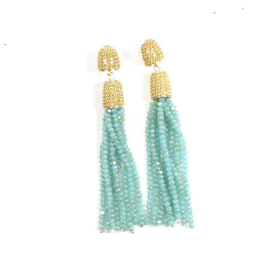 Sparkle Tassel Earring - Turquoise