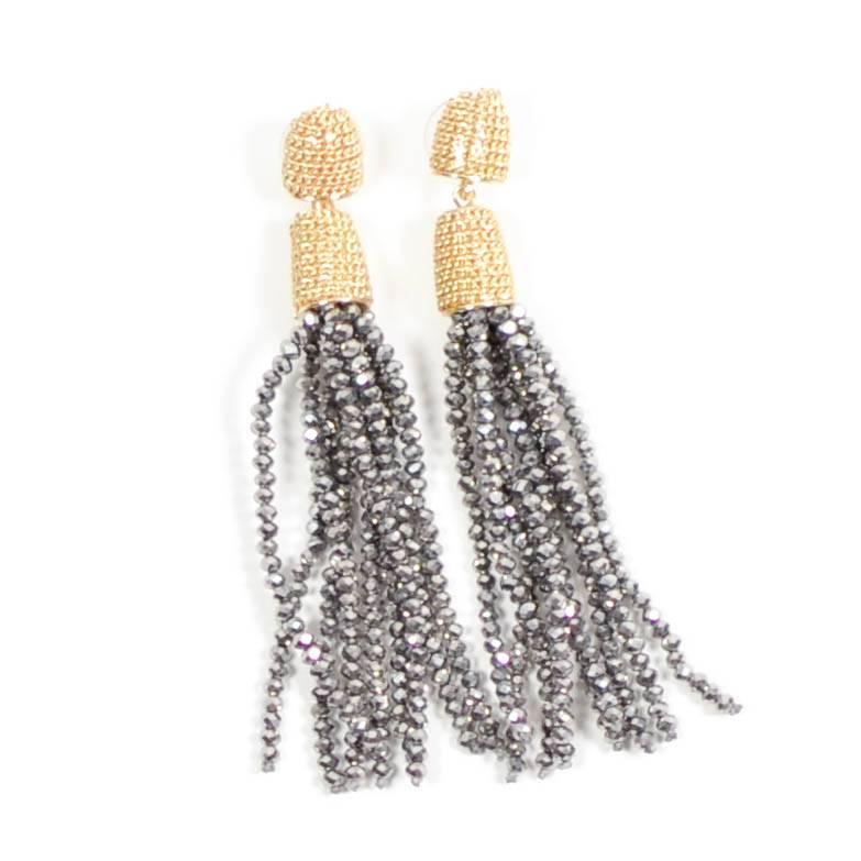 Sparkle Tassel Earring - Hematite