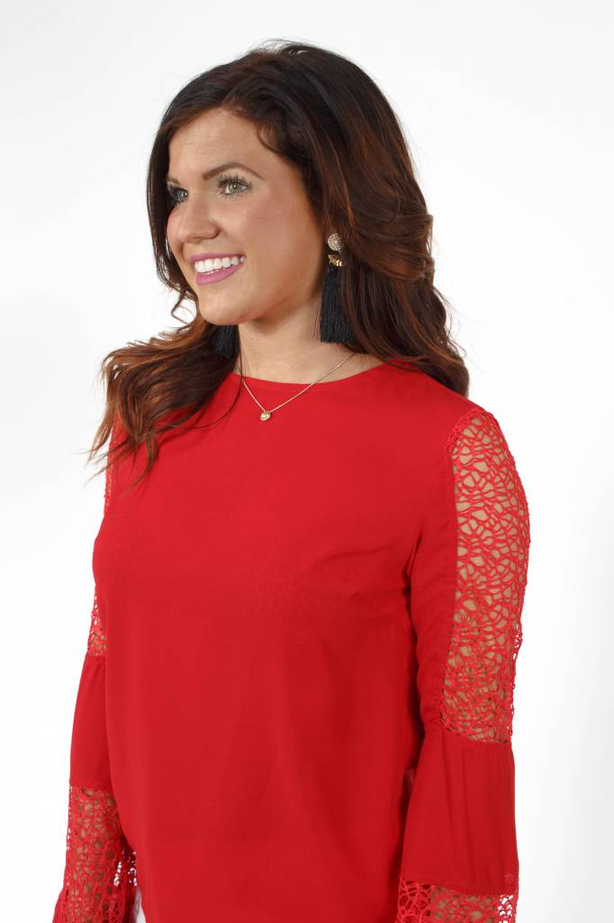 TCEC Bell Slv Lace Blouse