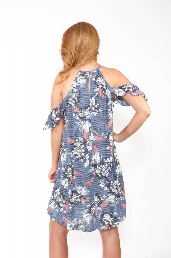 Cold Shoulder Ruffle Shift Dress