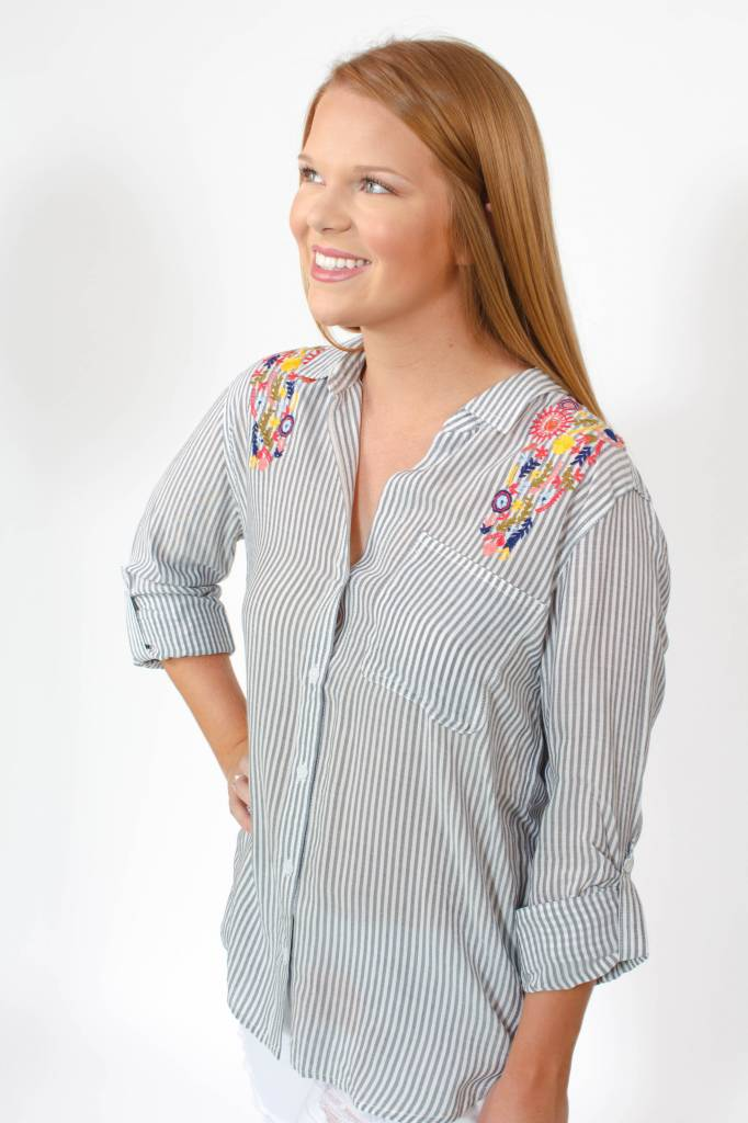 Elisa Embroidered Button Up Blouse