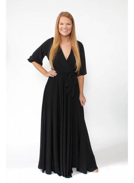Wrap Maxi Dress w/Bell Sleeve