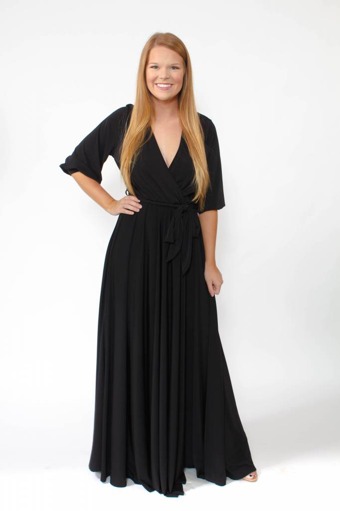 Wrap Maxi Dress w/Bell Sleeve