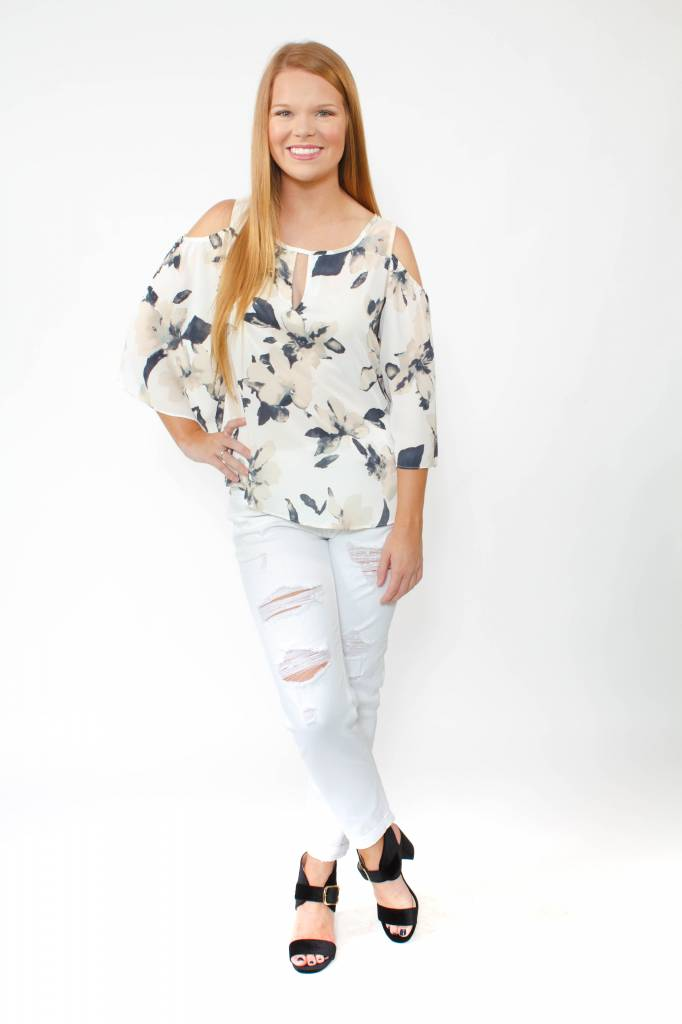 Cold Shoulder Neck Detail Blouse