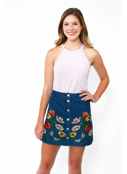 Flower Patch Denim Skirt