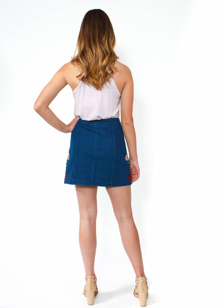 Flower Patch Denim Skirt