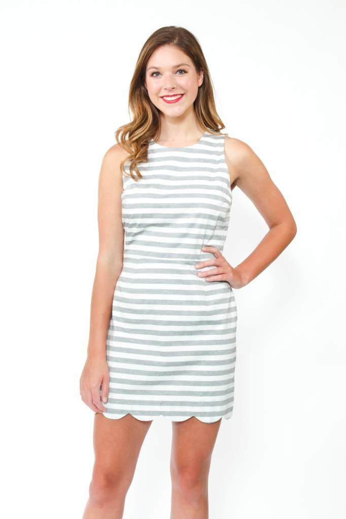 Naked Zebra Stripe Tie Waist Scallop Dress