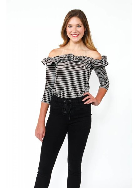 English Factory Stripe OTS Top