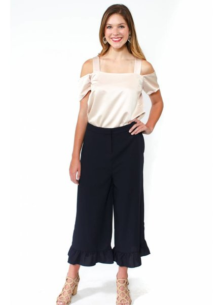 English Factory Ruffle Hem Wide Pants