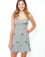 Seersucker Floral Dress