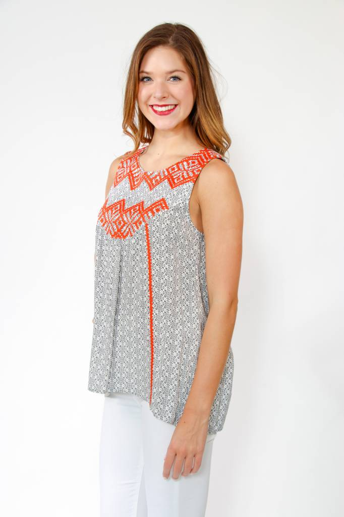 THML S/Less Printed Embrdrd Top