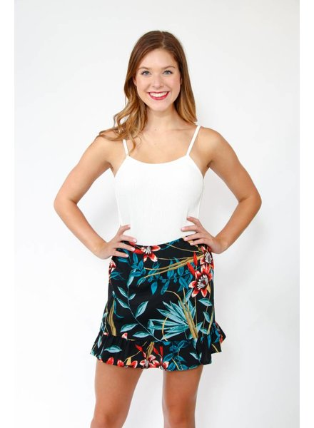 Band of Gypsies Tropical Ruffle Hem Mini Skirt