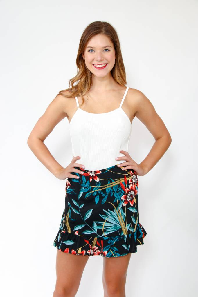 Band of Gypsies Tropical Ruffle Hem Mini Skirt
