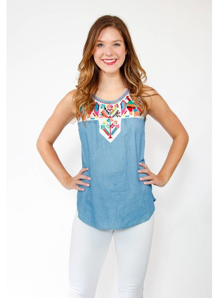 THML Embrd Denim Top