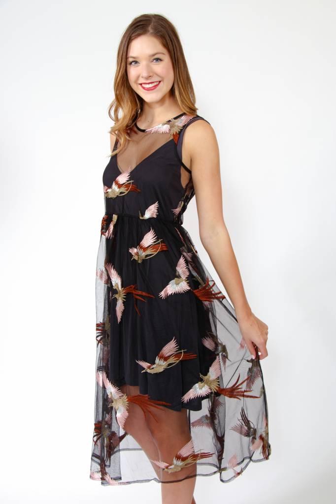 Illa Illa Sheer Midi Bird Detail Dress