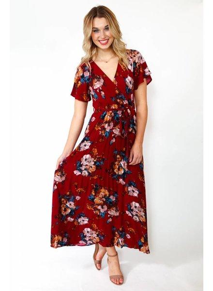 Burgundy Floral Maxi