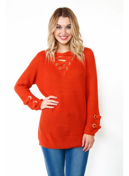 Lace-Up Neck Sweater