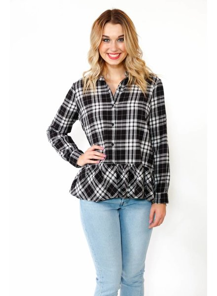 Beach.Love.Inc. Plaid Peplum Blouse