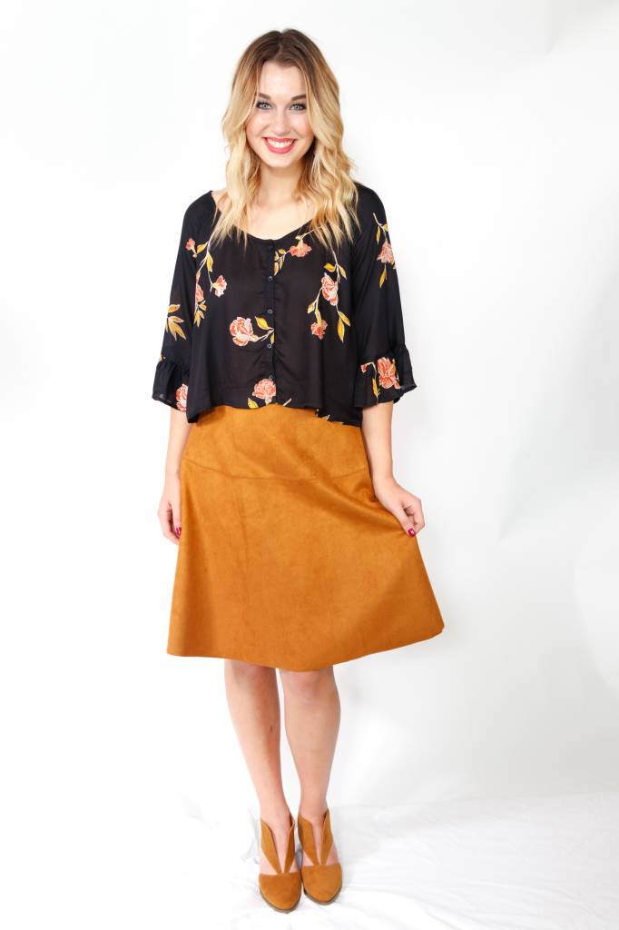 TCEC Suede A-Line Skirt