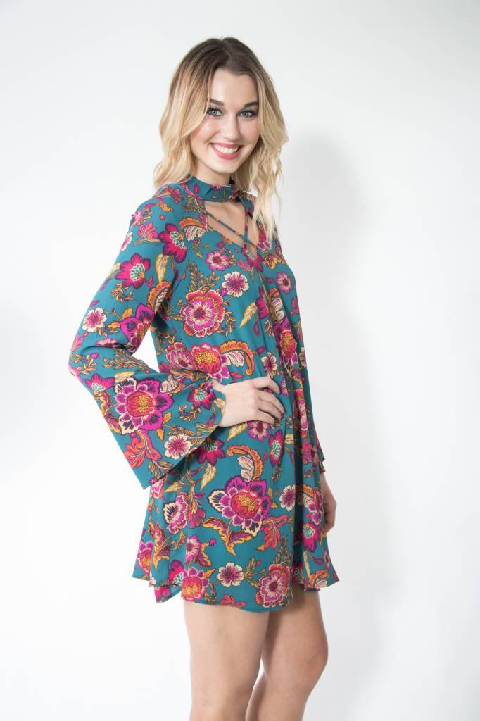 Floral Cross Neck Detail Dress