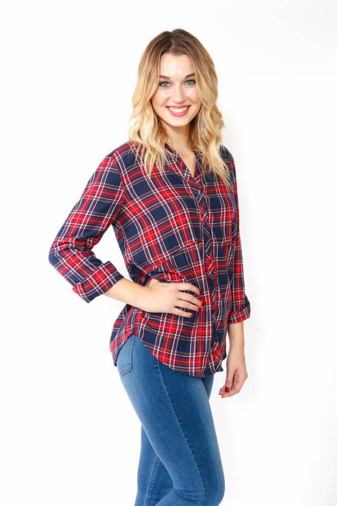Plaid Tunics w/Roll Sleeve