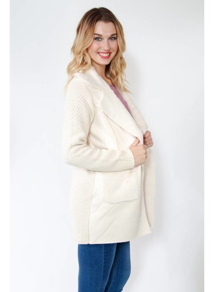 Cable Knit Fur Trim Cardigan