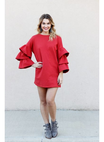 French Terry Ruffle Sweater Dress