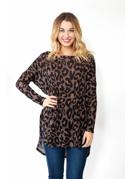Animal Print Tunic Sweater