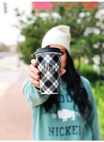 8 Oak Lane Black Plaid Travel Mug