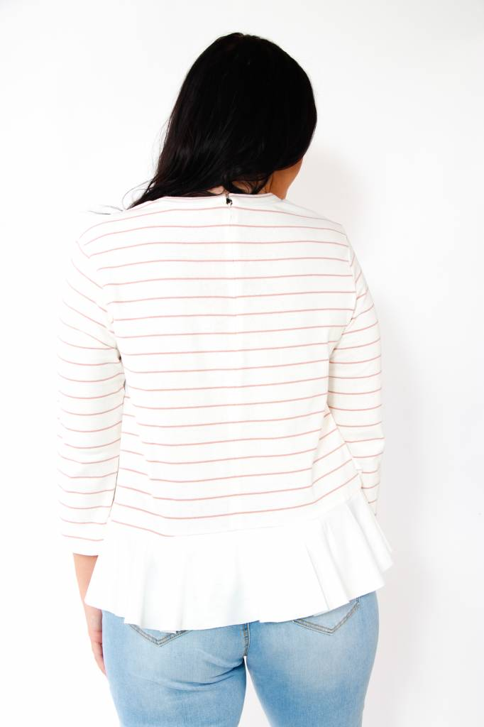 English Factory L/S Striped Ruffled Top