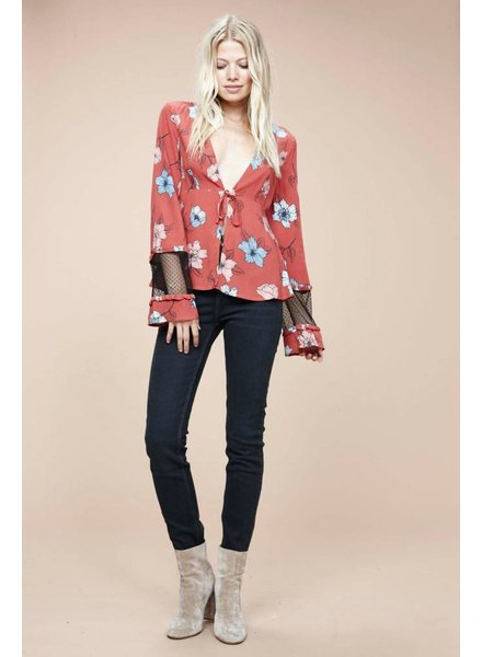 Mink Pink Ornate Tie-Front Blouse