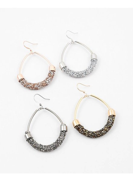 Crushed Pave' Hoop Earring