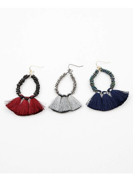 Beaded Hoop Tassel Earring