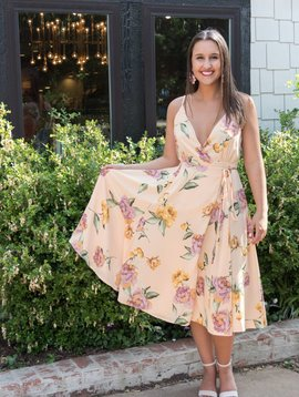 Storia Floral Crossover Tie Dress