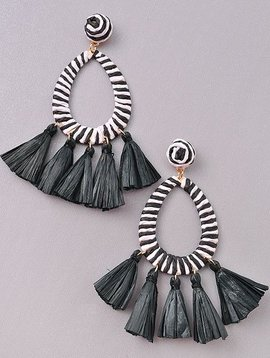 Wooden Nickel Exclusive Black & White Serengeti Tassel Earring
