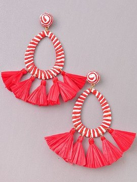 Wooden Nickel Exclusive Red & White Serengeti Tassel Earring