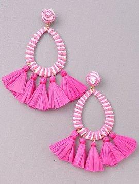 Wooden Nickel Exclusive Pink & White Serengeti Tassel Earring