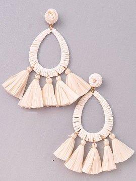 Wooden Nickel Exclusive Cream & White Serengeti Tassel Earring