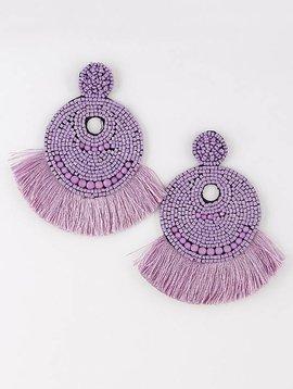 Wooden Nickel Exclusive Purple Sao Paulo Beaded Earring