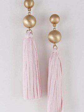 Wooden Nickel Exclusive Pink Tortuga Tassel Earring