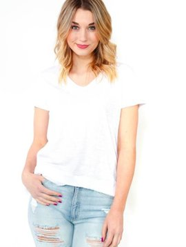 Dylan by True Grit Asymetrical V-Neck Tee
