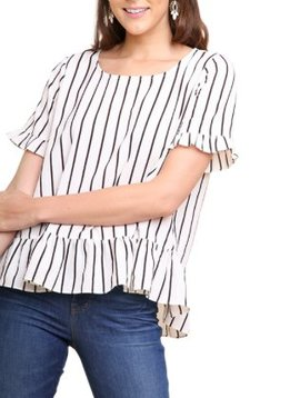 umgee Striped Ruffle Top