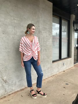 umgee Striped Knot Front Top