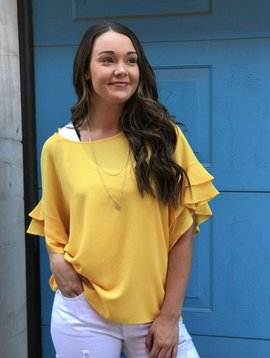umgee Layered Ruffle Sleeve Top
