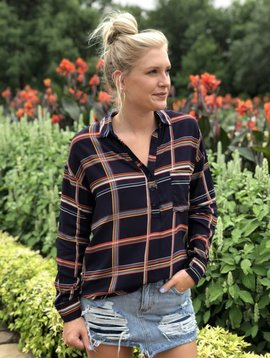Lush Clothing Oversized Plaid Blouse