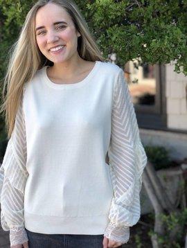 Molly Bracken Sheer Stripe Slve Sweater