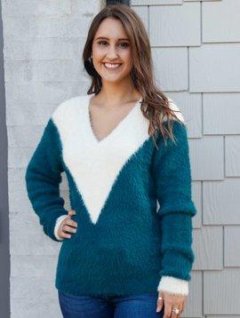 Molly Bracken Colorblock Fuzzy Sweater