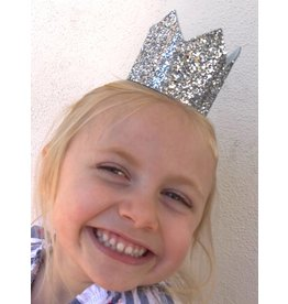 Large Glitter Crown Silver