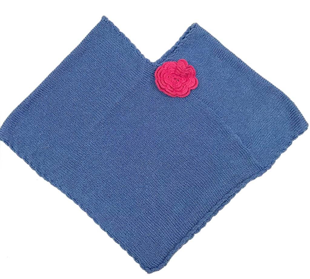 Blue/Pink Flower Poncho 2-4yrs